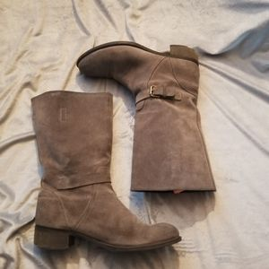JCrew mid calf slouchy gray suede pull on boot